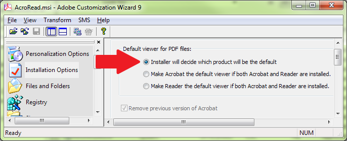 Adobe Reader Customization Wizard - Installation Options