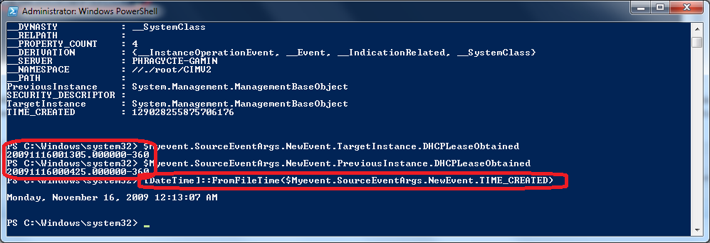 PowerShell - WMI Event Object