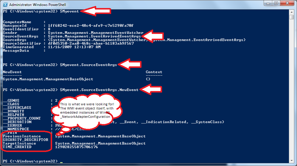 The underlying WMI event object