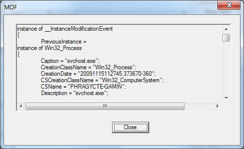 __InstanceModificationEvent MOF Syntax (wbemtest)