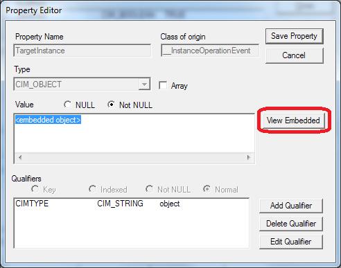 Property Editor for TargetInstance (wbemtest)