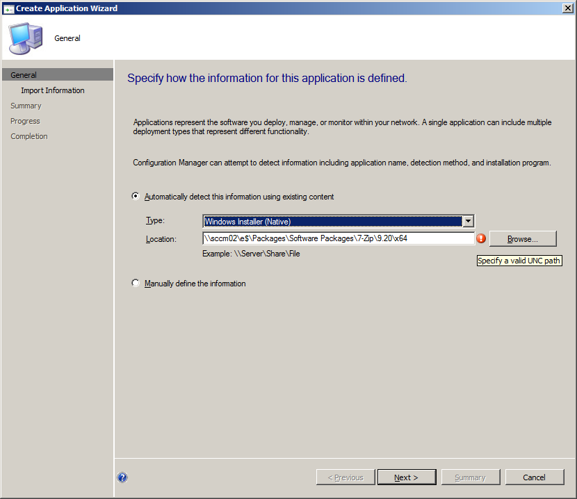 SCCM 2012 Beta 2: UNC Paths when Creating an Application