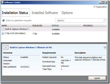 SCCM 2012 - Software Center - Installation Status
