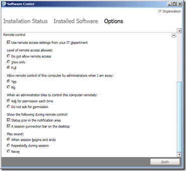 SCCM 2012 - Software Center - Options (2)