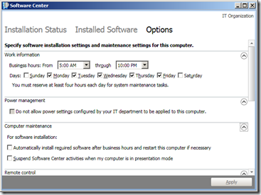 SCCM 2012 - Software Center - Options